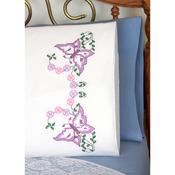"Stamped Perle Edge Pillowcases 30""X20"" 2/Pkg - Beautiful Butterflies"