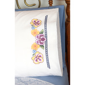"Stamped Perle Edge Pillowcases 30""X20"" 2/Pkg - Pansies"