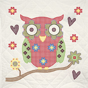 "Owl - Stamped Quilt Blocks 18""X18"" 6/Pkg"