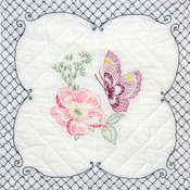"Butterfly Picture - Stamped Quilt Blocks 18""X18"" 6/Pkg"