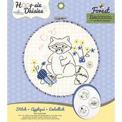 """Racoon Hoop - sie Daisies Embroidery Kit-8.5"""" Round"""
