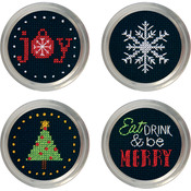 Set Of 4 - Holiday Cheer Jar Topper Counted Cross Stitch Kit