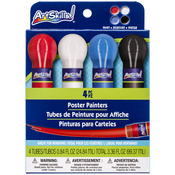 4 Colors - Washable Poster Paint .8oz 4/Pkg