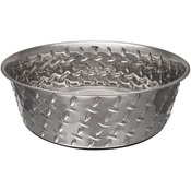 Ruff - N - Tuff 1 Quart Diamond Plate Bowl W/Non Skid Bottom-