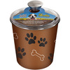 Bella Canister - Copper Loving Pets Products-Bella Canister. The perfect tool to store your pet's treats! Veterinarian recommended and stainless steel interior helps resist bacteria. The removable rubber base helps prevent both spills and noise. Dishwasher safe and comes in a variety of colors to match any decor. This package contains one 6-1/4x6x6 inch metal Bella Canister with plastic lid. Made in USA.