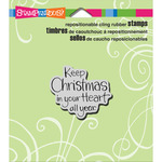 "Keep Christmas - Stampendous Christmas Cling Rubber Stamp 4.75""X4.5"" Sheet"