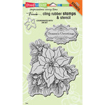 "Stampendous Fran's Cling Stamp & Stencil Set 7""X5"" Sheet - Create A Poinsettia S"