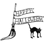 Happy Halloween Broom & Cat - Gourmet Rubber Stamps Cling Stamps
