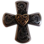 "Concho Gold & Silver Screwback 1""-Elegant Cross Heart"