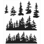 "Tree Line - Tim Holtz Cling Rubber Stamp Set 7""X8.5"""