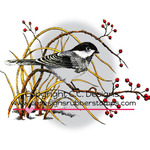"Winter Chickadee - DoveArt Cling Stamp 3.5""X2.5"""