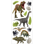 """Dinosaurs - Paper House Puffy Stickers 3""""X6.35"""""""