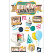 """Birthday Wishes - Paper House 3D Stickers 4.5""""X8.5"""""""