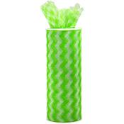 "Lime - Chevron Zig Zag Printed Tulle 6""X10yd Spool"