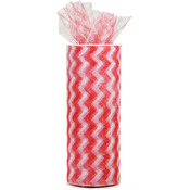 "Red - Chevron Zig Zag Printed Tulle 6""X10yd Spool"