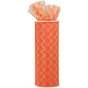 "Orange - Chevron Zig Zag Printed Tulle 6""X10yd Spool"