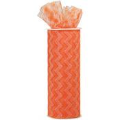 "Orange - Chevron Zig Zag Printed Tulle 6""X10yd Spool"