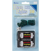Clear Lights, Green Cord - Deco Lights Battery Operated Teeny Bulbs - 20 Bulbs