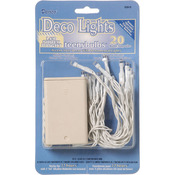 Clear Lights, White Cord - Deco Lights Battery Operated Teeny Bulbs - 20 Bulbs