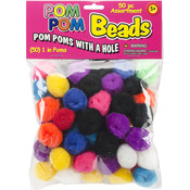 "Assorted - Pom-Pom Beads 1"" 50/Pkg"
