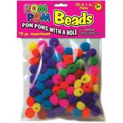 """Assorted - Pom-Pom Beads .5"""" & 1"""" 75/Pkg"""