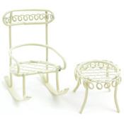 Cream - Micro Mini Iron Garden Rocking Chair & Table Set 2/Pkg