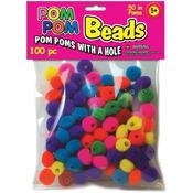 """Assorted - Pom-Pom Beads .5"""" 100/Pkg"""