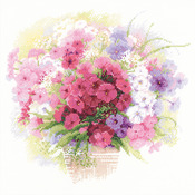 """11.75""""X11.75"""" 14 Count - Watercolour Phlox Counted Cross Sttich Kit"""
