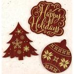A Victorian Christmas Laser-Cut Foil Accent Wood Pieces - Prima