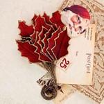 Sleighbells Velvet Mulberry Paper Leaves - A Victorian Christmas - Prima