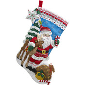 "18"" Long - Nordic Santa Stocking Felt Applique Kit"