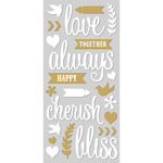 """Love, White W/Gold - Paper House ColorWays Foiled Puffy Stickers 3""""X6.35"""""""