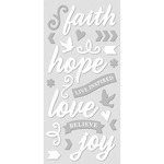 """Faith, White W/Silver - Paper House ColorWays Foiled Puffy Stickers 3""""X6.35"""""""