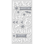 "Peace, White W/Silver - Paper House ColorWays Foiled Puffy Stickers 3""X6.35"""