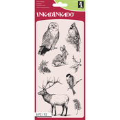 "Winter Wildlife - Inkadinkado Christmas Clear Stamps 4""X8"" Sheet"