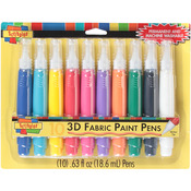 Assorted - Scribbles 3D Fabric Paint Pens 10/Pkg
