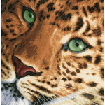 """13.75""""X13.5"""" 27 Count - LanArte Leopard On Cotton Counted Cross Stitch Kit"""