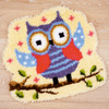 "Funny Owlet On A Branch - Vervaco Shaped Rug Latch Hook Kit 20""x22"""