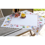 """32""""X32"""" 10.5 Count - Birds And Bird Houses Tablecloth On Aida Counted Cross Stitc"""