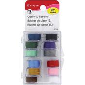 Assorted Colors 12/Pkg - Transparent Plastic Class 15 Bobbins - Threaded In Case