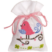 "3.25""X4.75"" 18 Count - Pink Bird Bag On Aida Counted Cross Stitch Kit"
