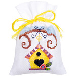 "3.25""X4.75"" 18 Count Set Of 3 - Bird And Bird Houses Bags On Aida Counted Cross Stitch Kit"