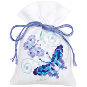 "3.25""X4.75"" 18 Count Set Of 3 - Blue Butterflies Bags On Aida Counted Cross Stitch Kit"