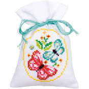 """3.25""""X4.75"""" 18 Count Set Of 3 - Roses And Butterflies Bags On Aida Counted Cross Stitch Kit"""