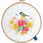 "8"" Round 14 Count - Bird And Flowers On Aida Counted Cross Stitch Kit"