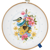 "8"" Round 14 Count - Our Bird House On Aida Counted Cross Stitch Kit"
