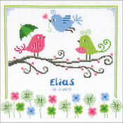 "8.75""X8.75"" 14 Count - Colourful Birds Birth Record On Aida Counted Cross Stitch Ki"