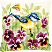 "15.75""X15.75""  - Blue Tit On Pansies Cushion Cross Stitch Kit"