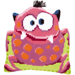 "15.75""X15.75"" - Pink Monster I Shaped Cushion Cross Stitch Kit"