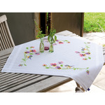 "32""X32"" - Little Birds And Pansies Tablecloth Stamped Embroidery Kit"